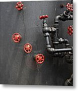 Valves And Pipes Of Steam Roller 7d15107 Metal Print by Wingsdomain Art and Photography