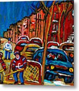 Verdun Rowhouses With Hockey - Paintings Of Verdun Montreal Street Scenes In Winter Metal Print by Carole Spandau