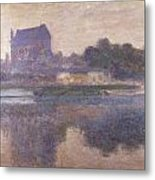 Vernon Church In Fog Metal Print by Claude Monet