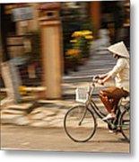 Vietnamese Woman Riding A Bicycle Metal Print by Panya Jampatong