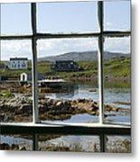 View Of A Harbor Through Window Panes Metal Print by Pete Ryan