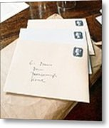 View Of Letters Addressed To Darwin On His Desk Metal Print by Volker Steger