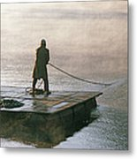 Villager On Raft Crosses Lake Phewa Tal Metal Print by Gordon Wiltsie