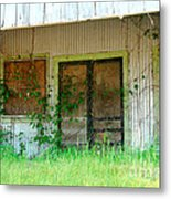 Vintage Gas Station In Springtime  Metal Print by Connie Fox