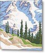 Vintage Mount Rainier Travel Poster Metal Print by Mitch Frey