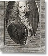 Voltaire, French Author Metal Print by Middle Temple Library