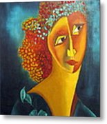 Waiting For Partner Orange Woman Blue Cubist Face Torso Tinted Hair Bold Eyes Neck Flower On Dress Metal Print by Rachel Hershkovitz