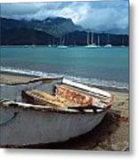 Waiting To Row In Hanalei Bay Metal Print by Kathy Yates