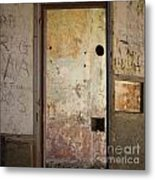 Walls With Graffiti In An Abandoned House. Metal Print by Bernard Jaubert