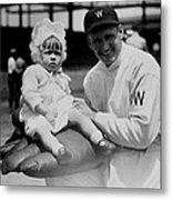 Walter Johnson Holding A Baby - C 1924 Metal Print by International  Images
