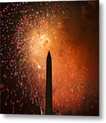 Washington Monument And Fireworks I Metal Print by Phil Bolles
