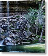 Water And Lights At Hamilton Pool Metal Print by Lisa  Spencer