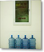 Water Cooler Bottles And Fire Hydrant Cabinet Metal Print by Andersen Ross