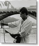 Water Engineer Monitoring Radiation In River Metal Print by Ria Novosti