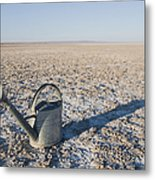 Water Pail On Dried Mud Metal Print by Thom Gourley/Flatbread Images, LLC