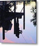 Water Reflection Of A Fisherman Metal Print by Judy Via-Wolff