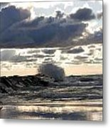 Wave Crashing Into Jetty On Lake Michigan Metal Print by Christopher Purcell
