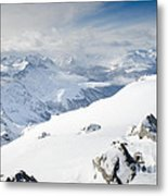 Weissfluhgipfel Summit View From The Summit Across Davos Metal Print by Andy Smy