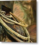 Western Style Saddle And Cowboy Metal Print by Melinda Moore