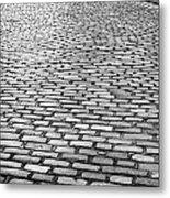 Wet Cobblestoned Huntly Street In The Union Street Area Of Aberdeen Scotland Metal Print by Joe Fox