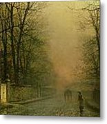 Where The Pale Moonbeams Linger  Metal Print by John Atkinson Grimshaw