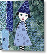 Whimsical Blue Girl Mixed Media Collage  Metal Print by Karen Pappert
