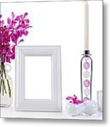 White Picture Frame In Decoration Metal Print by Atiketta Sangasaeng