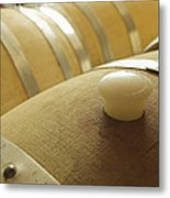 Wine Barrel Detail In Cellar At Winery Metal Print by James Forte