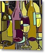 Wine Bottle Deco Metal Print by Peggy Wilson