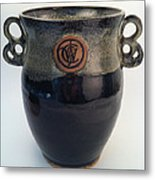 Wine Chiller Or Vase With Licorice And Light Beige Glaze  Metal Print by Carolyn Coffey Wallace