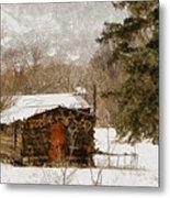 Winter Cabin 2 Metal Print by Ernie Echols
