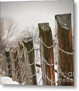 Winter Fence Metal Print by Sandra Cunningham