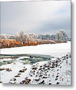 Winter Red River 2012 Metal Print by Steve Augustin