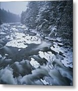 Winter View Of The Ausable River Metal Print by Michael Melford