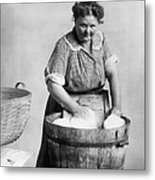 Woman Doing Laundry In Wooden Tub Metal Print by Everett