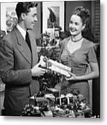 Woman Giving Gift To Man, (b&w) Metal Print by George Marks