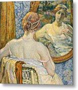 Woman In A Mirror Metal Print by Theo van Rysselberghe