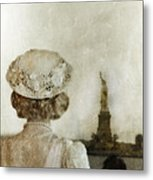 Woman In Hat Viewing The Statue Of Liberty  Metal Print by Jill Battaglia