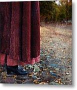 Woman In Vintage Clothing On Cobbled Street Metal Print by Jill Battaglia