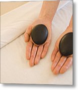 Woman Massage Therapist Hands Holding Metal Print by James Forte