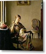 Woman Sewing Metal Print by William McGregor Paxton
