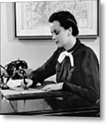 Woman Writing At Desk Metal Print by George Marks