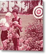 Women Holding Bow And Quiver By Target Metal Print by Archive Holdings Inc.