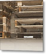 Wooden Pallets Stacked Up Metal Print by Shannon Fagan