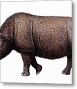 Woolly Rhinoceros, Artwork Metal Print by Mauricio Anton