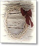 Woven Reed Wreath Metal Print by Linda Phelps