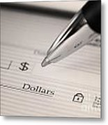 Writing A Check Metal Print by Blink Images