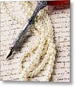 Writing Pen And Perals  Metal Print by Garry Gay