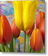 Yellow And Orange Tulips Metal Print by Garry Gay