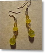 Yellow Ball Drop Earrings Metal Print by Jenna Green